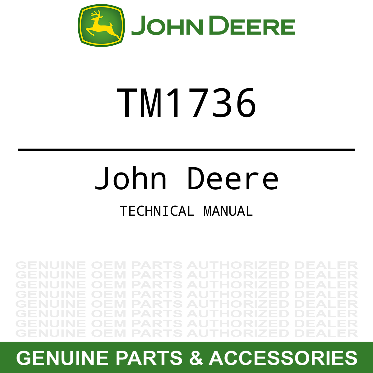 OEM Technical Repair Service Shop Manual John Deere Gator XUV 620i TM1736